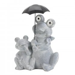 Solar Frogs Sitting Under Umbrella LED Light Up Eyes Gray Water & Rust Resistant