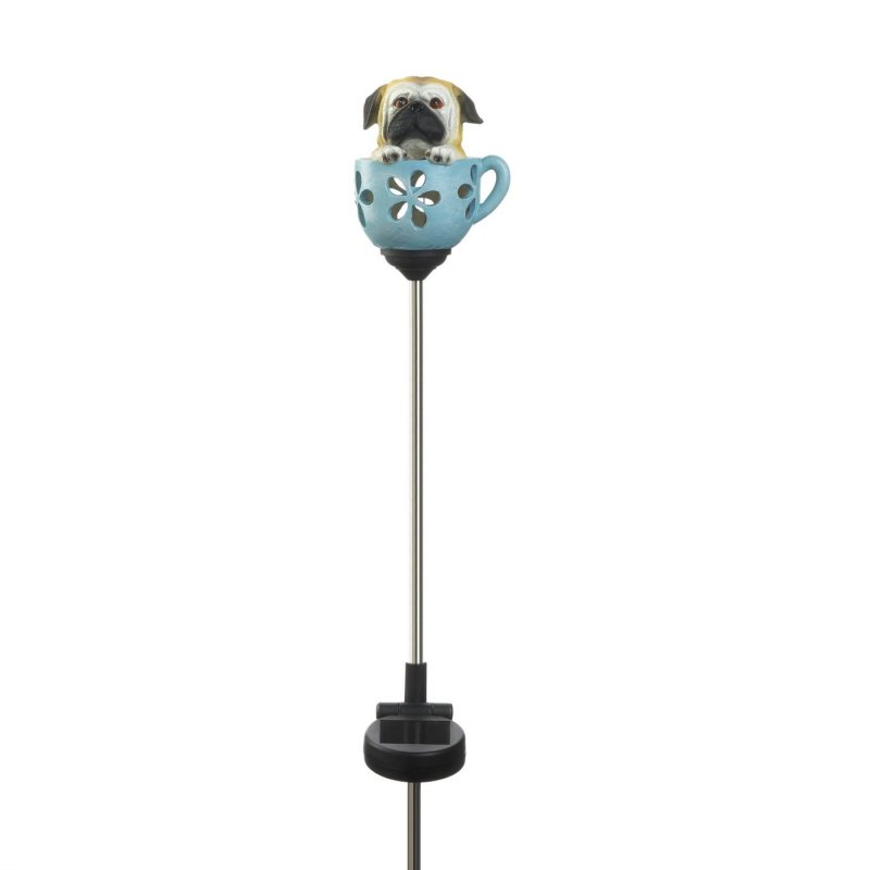 Little doggy in a cup weighs 0.4 lbs.  This precious teacup puppy stake with solar light measures at 4 x 3.5 x 31 inches.  Adorable pup in a cup stake made of polyresin, plastic, and iron with solar