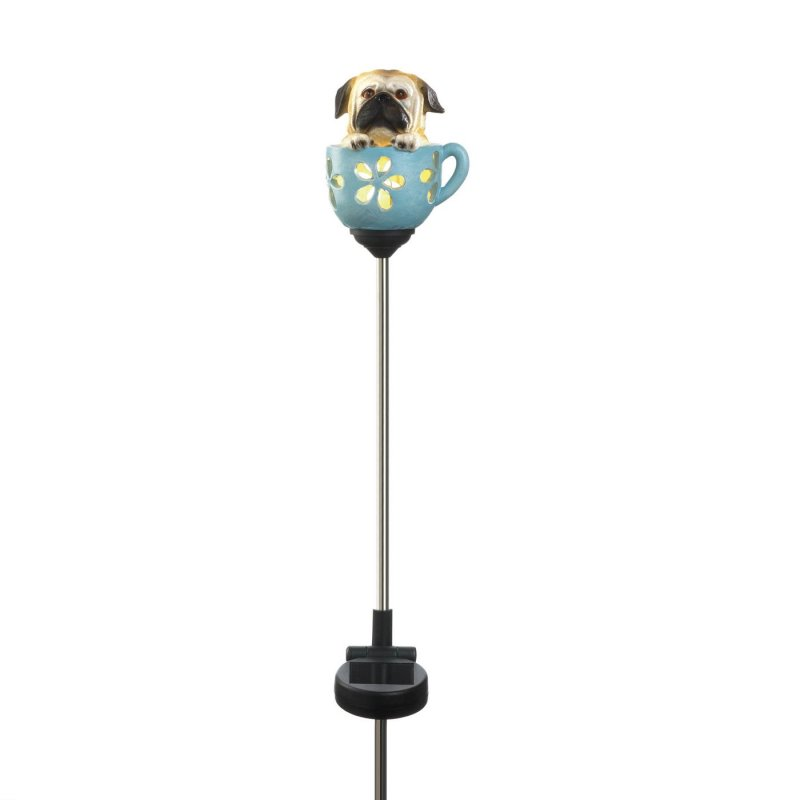 Image 1 of Solar Garden Stake Pug Pup in Blue Teacup LED Light 31