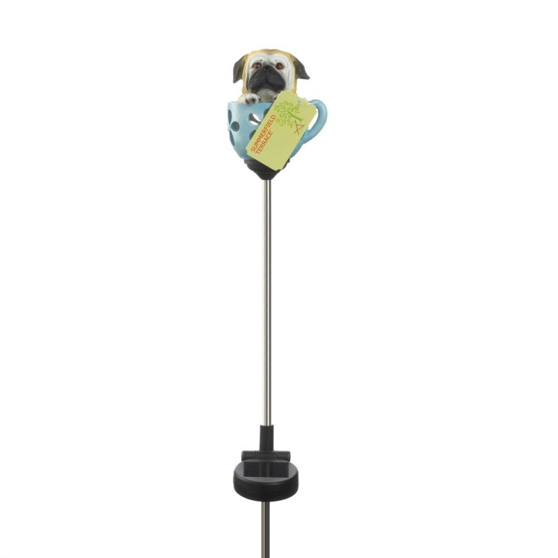 Image 2 of Solar Garden Stake Pug Pup in Blue Teacup LED Light 31