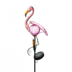 Pink Flamingo Solar Garden Stake w/ LED Light 32 High Tropical Decor