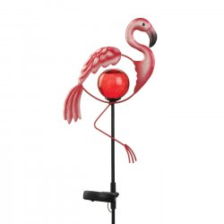Pink Flamingo Garden Stake Solar Red Glass Orb w/ LED Light 34 High