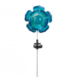 Blue Flower Solar Garden Stake w/ LED Light 21.5 High