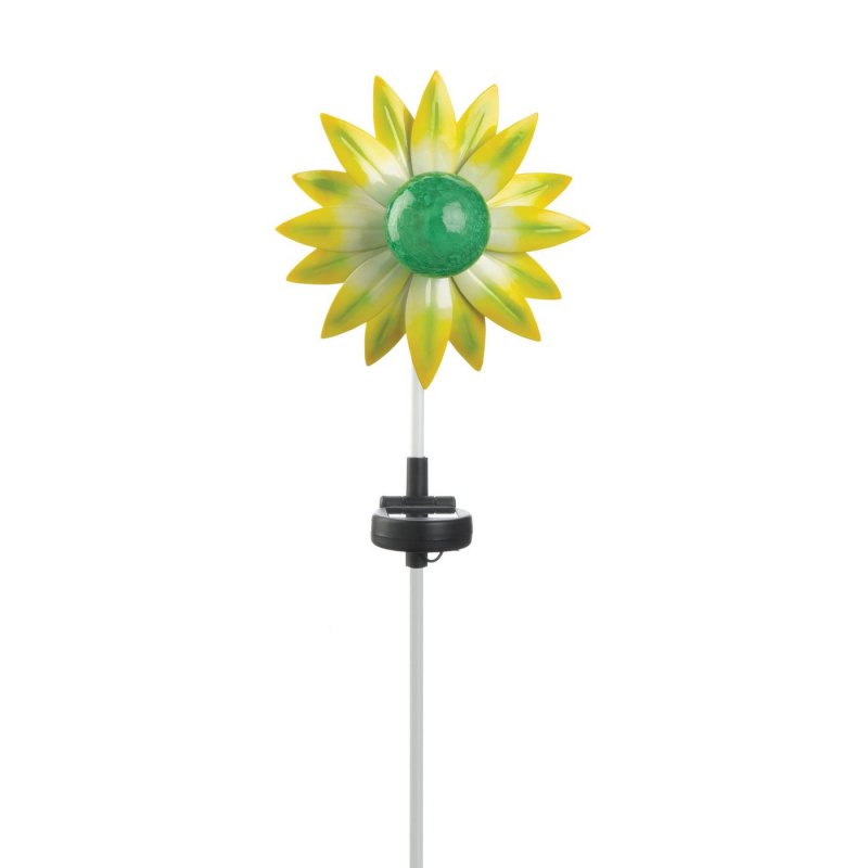 Solar powered flower stake weighs 0.6 lbs. This adorable light up garden flower stake measures at 7 x 5 x 21.5 inches. Green and yellow flower on stake made of glass, plastic, and iron with solar pa