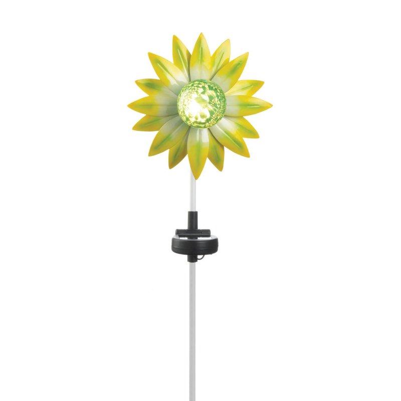 Image 1 of Yellow & Green Flower Solar Garden Stake w/ LED Light 21.5