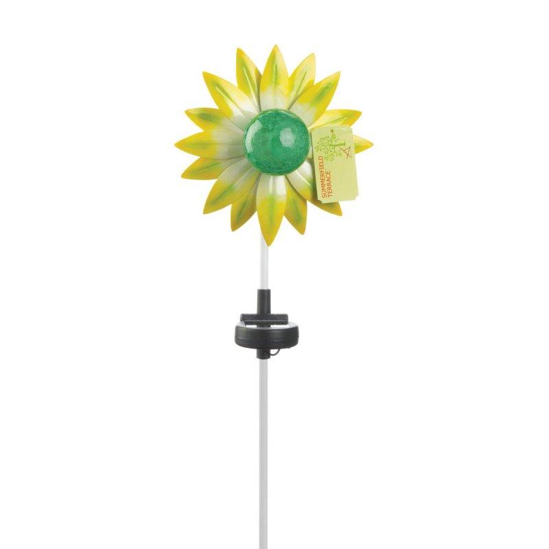 Image 2 of Yellow & Green Flower Solar Garden Stake w/ LED Light 21.5