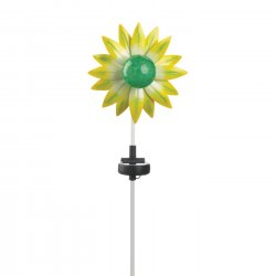 Yellow & Green Flower Solar Garden Stake w/ LED Light 21.5 High