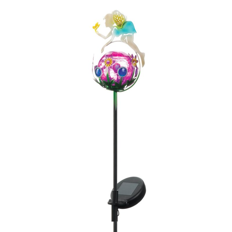 Image 1 of Garden Stake Fairy on Solar Glass Orb w/ LED Light & Flowers 34