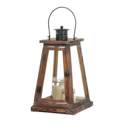 Large Rustic Ideal Pine Wood Pyramid Design Candle Lanterns Over-Sized Roof