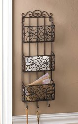 Black Vintage Style Mail Organizer Wall Rack 3 Compartments & Hooks for Keys
