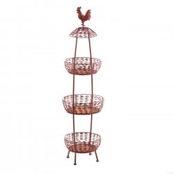 Kitchen Stand 3-Tier Basket Rooster Theme for Produce Storage & More 46 High