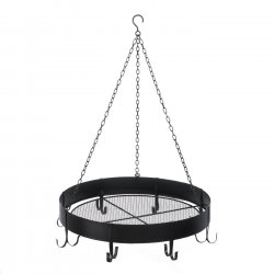Round Hanging Pot Rack 6 Hooks Storage for Accessories on Top Black