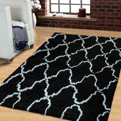 Black & Silver Trellis Pattern Hand Woven Soft Shag Area Rug