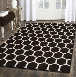 Honeycomb Modern Geometric Hand-Tufted Wool Rug Chocolate & Ivory 5' x 8'