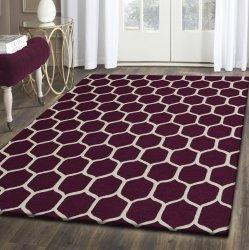 Honeycomb Modern Geometric Hand-Tufted Wool Rug Maroon & Ivory 5' x 8'