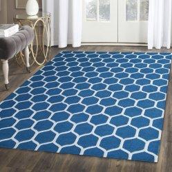Honeycomb Modern Geometric Hand-Tufted Wool Rug Teal & Ivory 5' x 8'