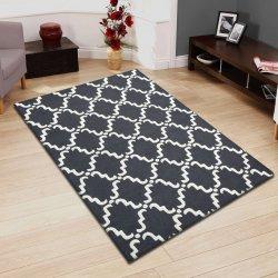 Moroccan Traditional Lattice Wool Rug Gray & White 5' x 8'