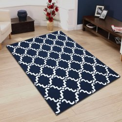 Moroccan Traditional Lattice Wool Rug Navy & White 5' x 8'
