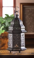 Black Iron Candle Lantern Moroccan Style w/ Intricate Cutout Patterns 10 High