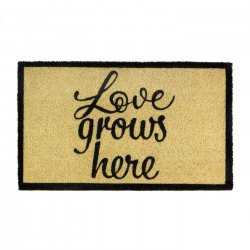Emilia Love Grows Here Coir Doormat Slip-Resistant Backing 18 x 30 Long