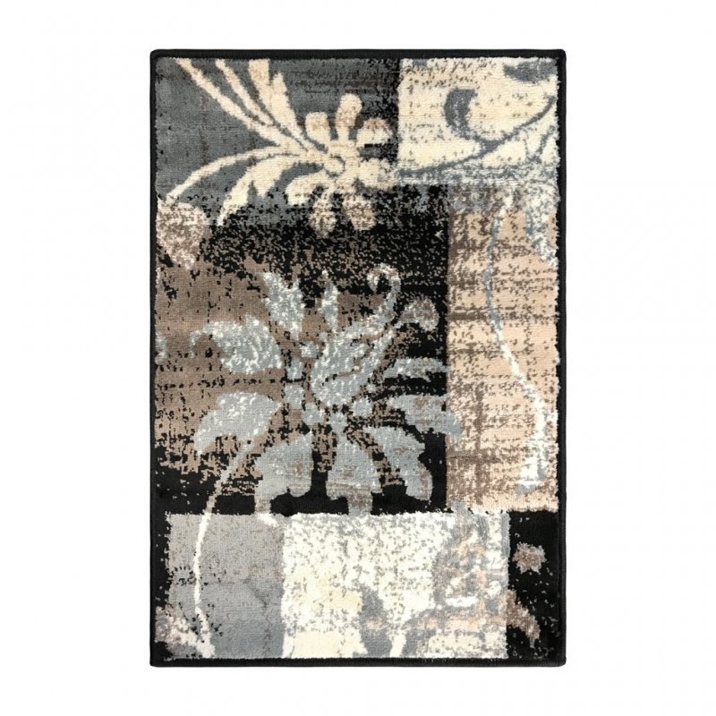 Image 1 of Superior Pastiche Area Rug Distressed Geometric Floral Design Chocolate