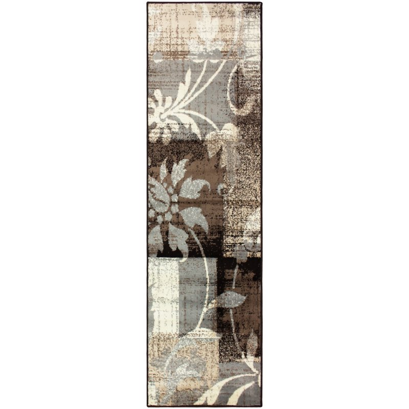 Image 2 of Superior Pastiche Area Rug Distressed Geometric Floral Design Chocolate