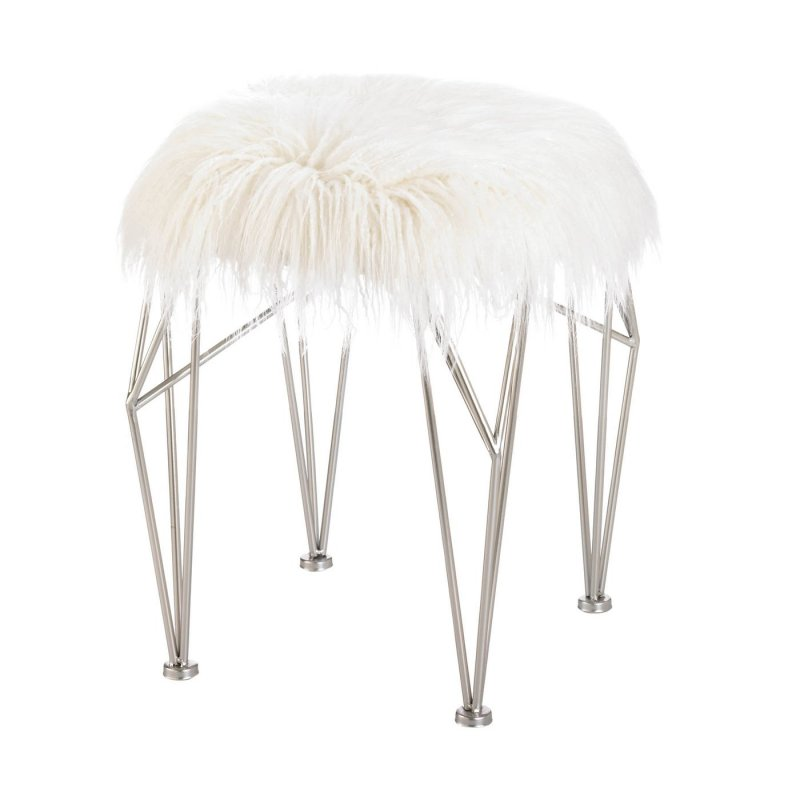 The white and silver coloring will coordinate effortlessly with a multitude of décor and add a subtle touch of sheen to any room. Use as a makeup vanity stool, desk stool, or as extra seating in the