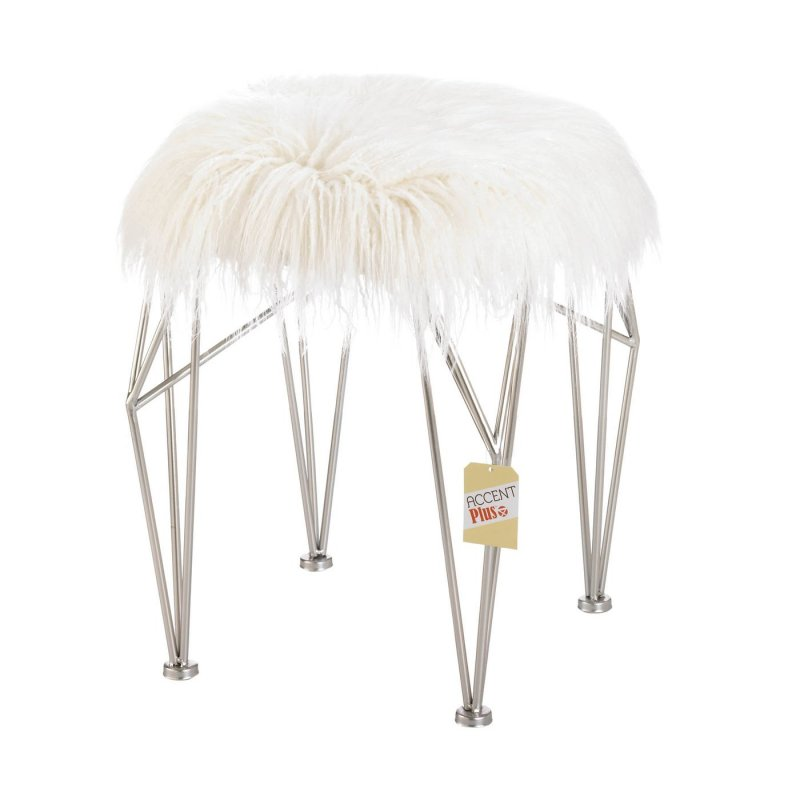 Image 1 of Modern White Faux Fur Covered Vanity Stool w/ Silver Prism Legs