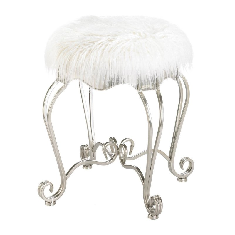 This elegant faux fur covered stool demands attention in any space. Use at your makeup vanity, home office desk, or as an extra sitting area in the living room
