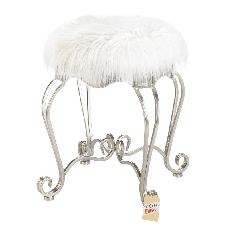 Image 1 of Modern White Faux Fur Covered Vanity Stool w/ Silver Scroll Legs