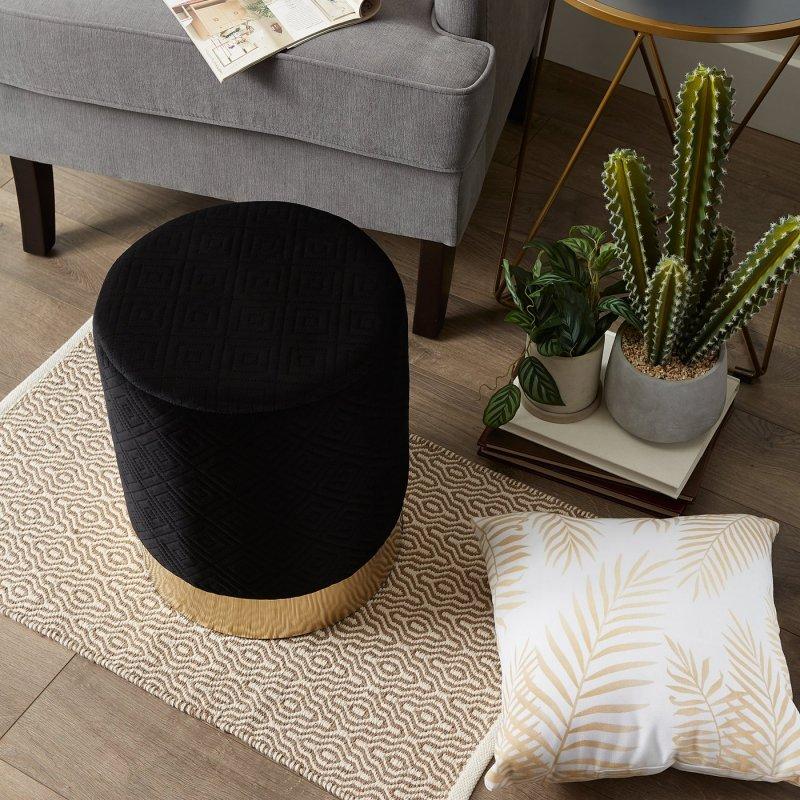 Image 1 of Modern Velvet Covered Vanity Stool, Side Table, Footrest, Plant Stand
