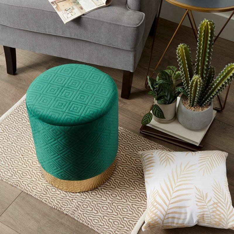 Image 5 of Modern Velvet Covered Vanity Stool, Side Table, Footrest, Plant Stand