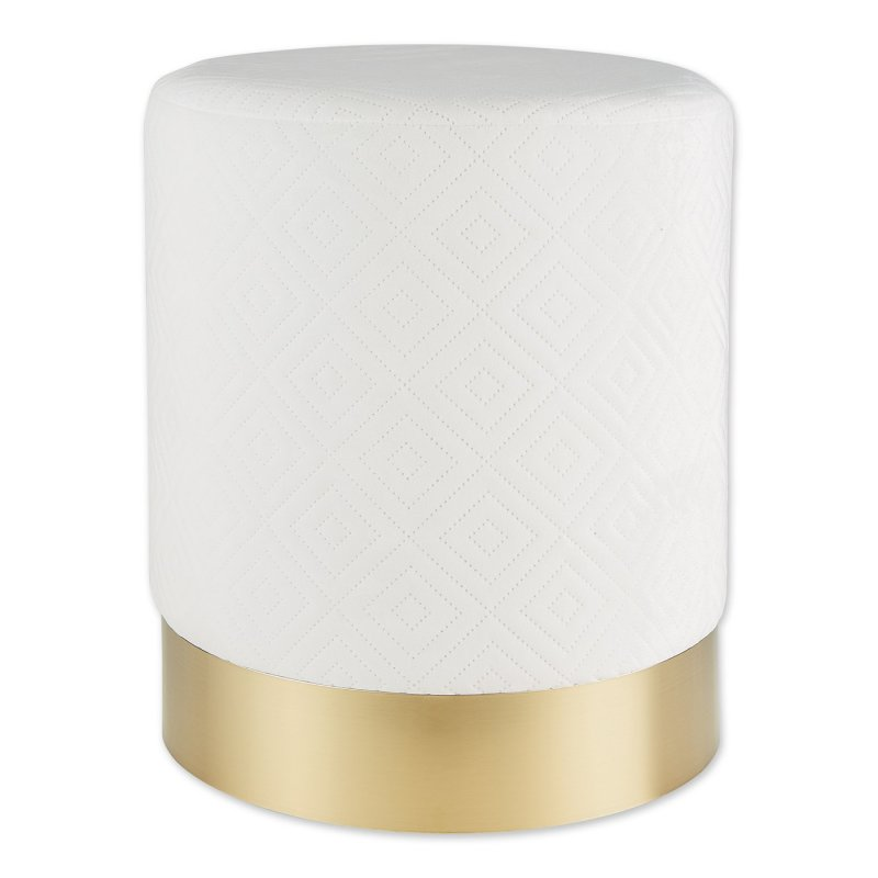 White Stool with Gold Trim