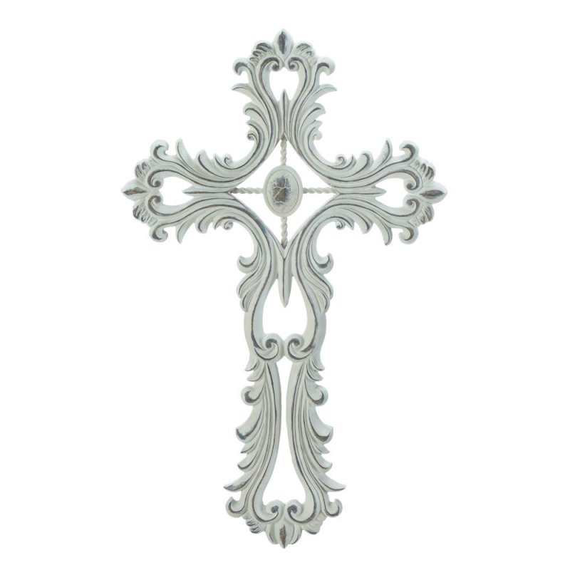 Image 1 of Open Scalloped White Wall Cross