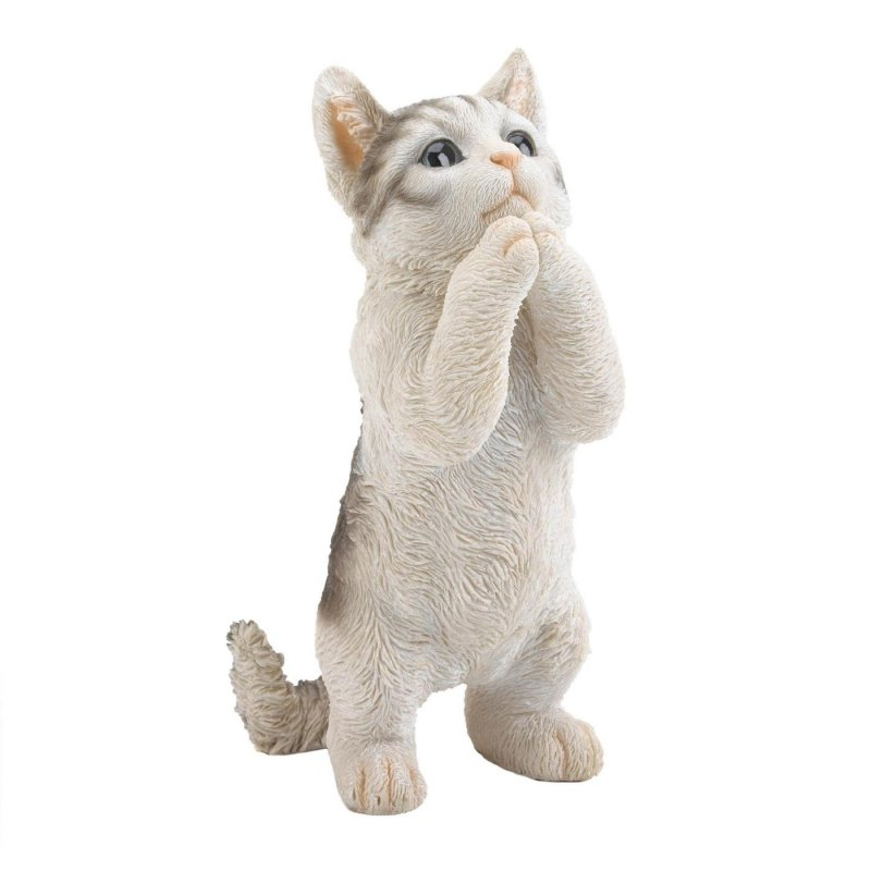 Liven up your outdoor space with this adorable playing cat figurine. It features a realistic depiction of an adorable cat standing.