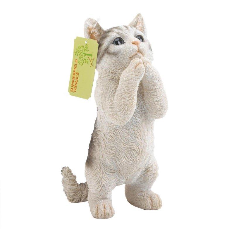 Image 1 of Gray & White Cat Standing Garden Decor Figurine