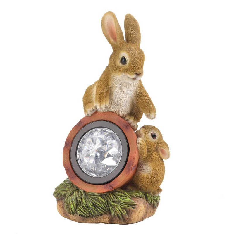 Image 0 of Mom & Baby Bunny Rabbit Climbing on Solar Light Garden Decor Figurine