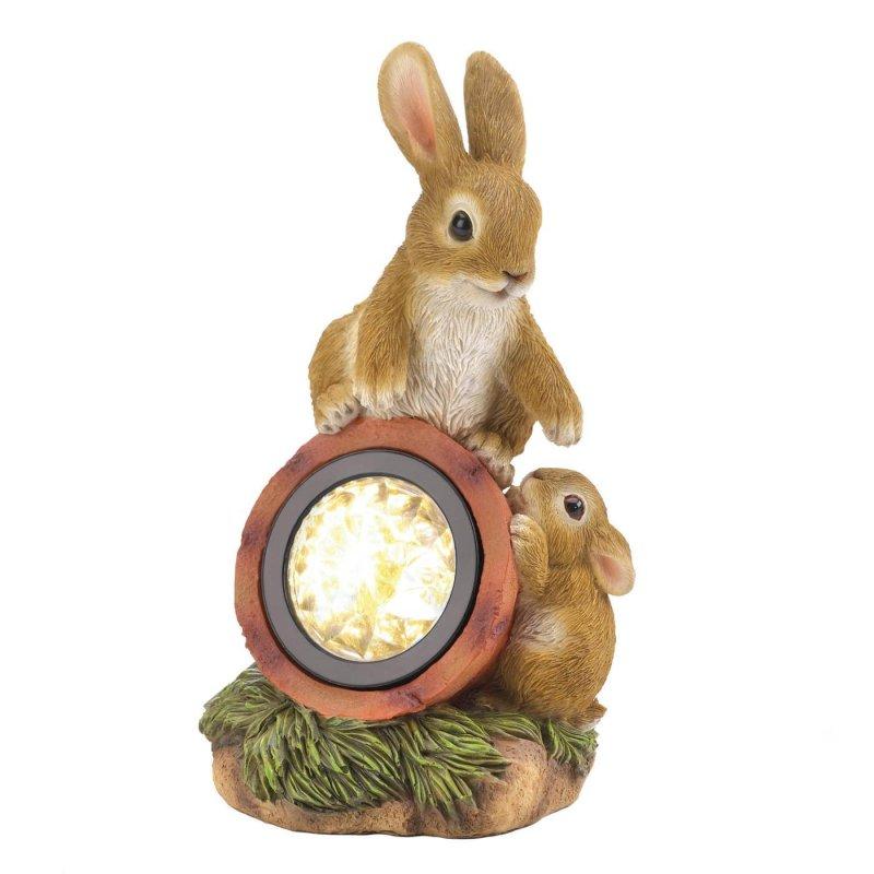 Image 1 of Mom & Baby Bunny Rabbit Climbing on Solar Light Garden Decor Figurine