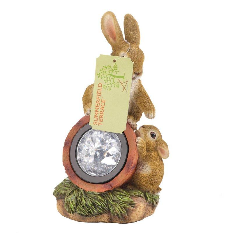 Image 2 of Mom & Baby Bunny Rabbit Climbing on Solar Light Garden Decor Figurine