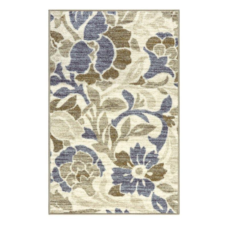 Image 1 of Superior Roselyn Area Rug Multi-Color Floral Design No Slip Backing