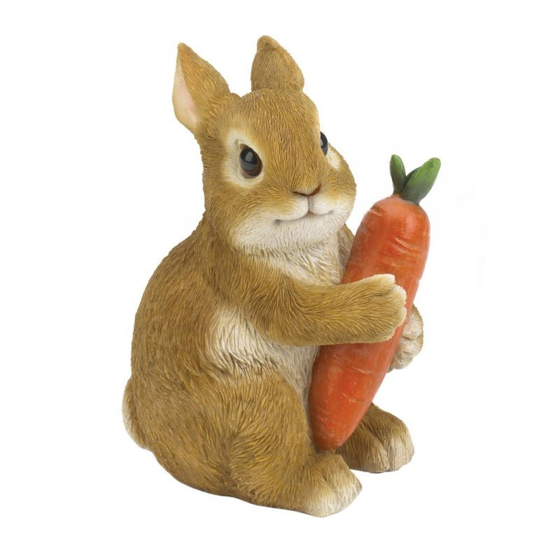 This adorable statue features a realistic depiction of a sitting rabbit holding a carrot. Makes a playful addition to your indoor or outdoor space.