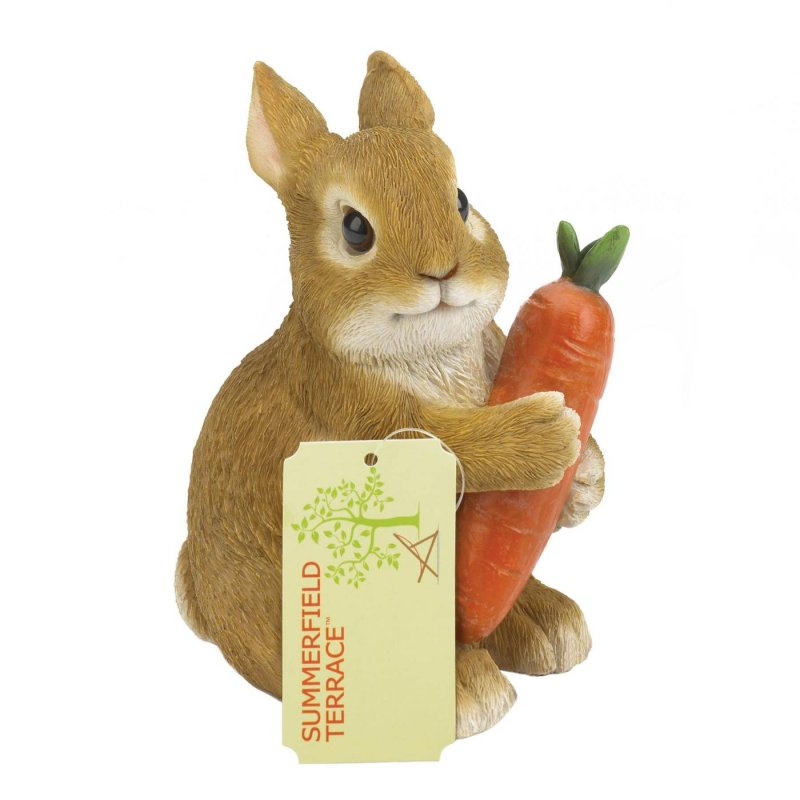 Image 1 of Bunny Hugging Carrot Garden Decor Figurine