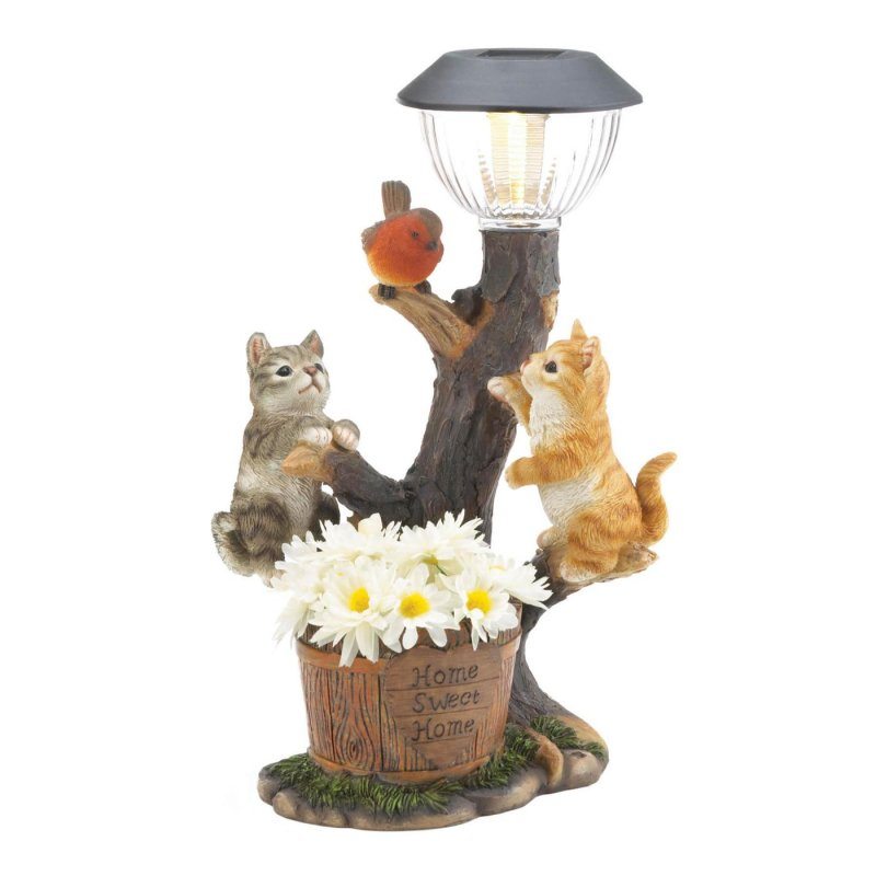 Image 1 of Climbing Cats on Solar Light w/ Flower Bucket Garden Decor Figurine