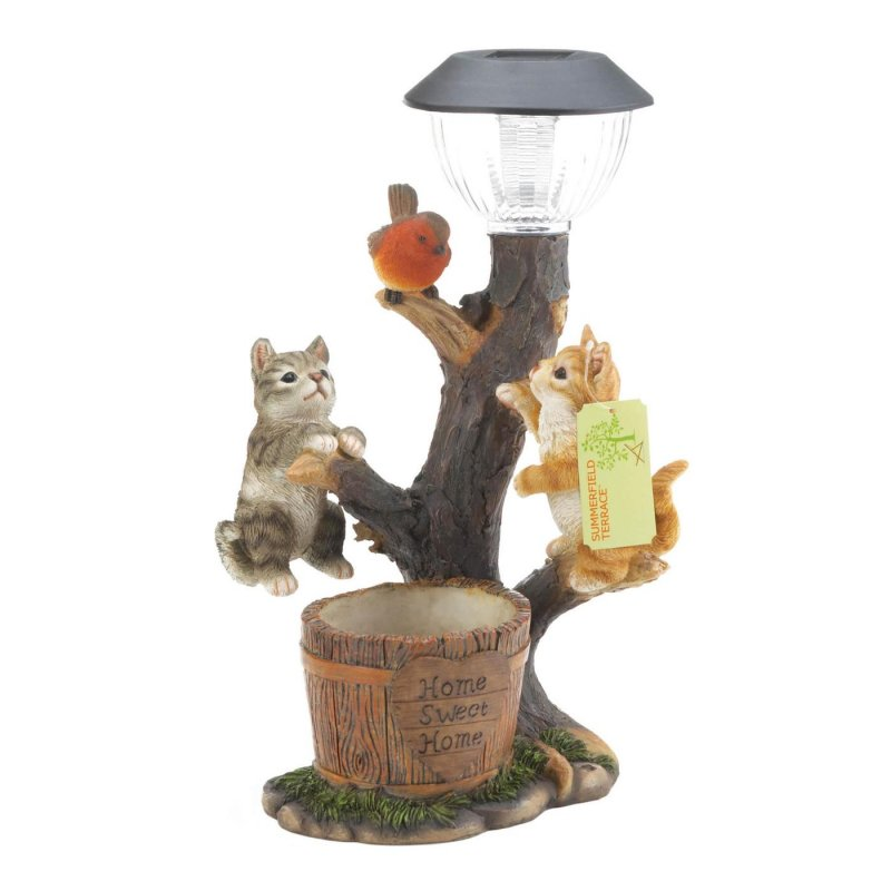 Image 2 of Climbing Cats on Solar Light w/ Flower Bucket Garden Decor Figurine