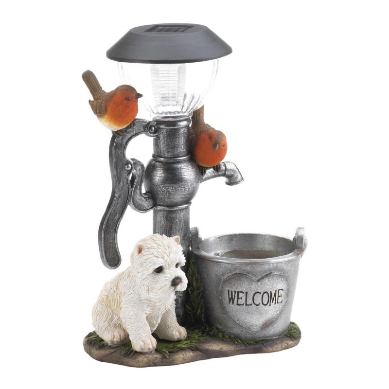 Welcome guests with this adorable solar statue of a puppy with birds. Place in a garden or near a water feature and light a path through your yard with a soft glow.