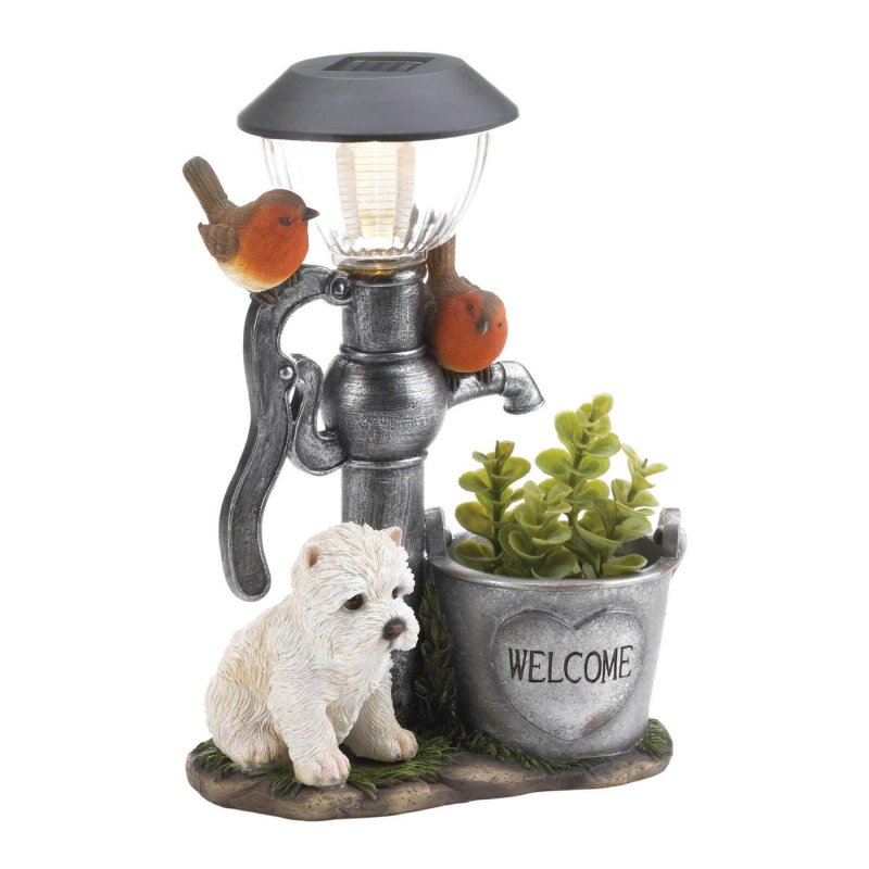Image 1 of White Pup by Water Pump w/ Flower Bucket Solar Light Garden Decor Figurine