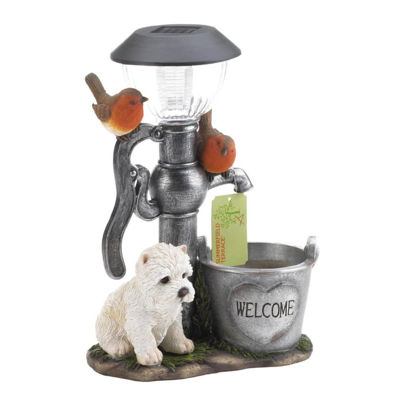 Image 2 of White Pup by Water Pump w/ Flower Bucket Solar Light Garden Decor Figurine