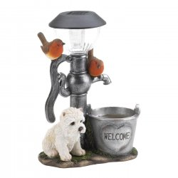 White Pup by Water Pump w/ Flower Bucket Solar Light Garden Decor Figurine