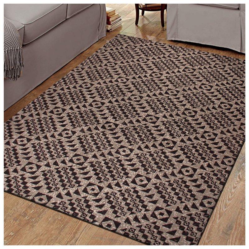 Image 0 of Superior Acadia Designer Area Rug Brown & Black Geometric Design 100% Cotton