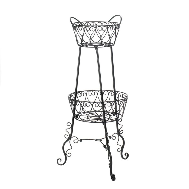 Decorative 2 tier plant stand features scroll embellished design for a French country farmhouse look.